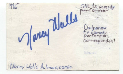 Nancy Carell (Walls) Signed 3x5 Index Card Autograph Signature SNL The Office