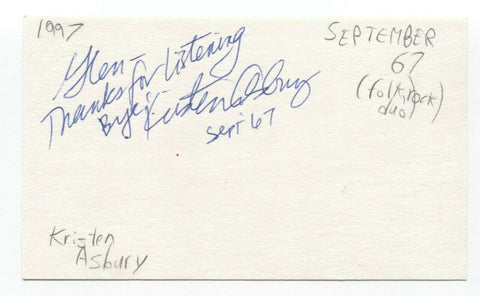 September 67 - Kristen Asbury Signed 3x5 Index Card Autographed Signature
