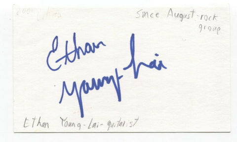 Since August - Ethan Young-Lai Signed 3x5 Index Card Autographed Signature