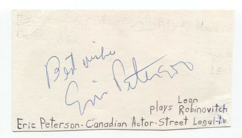Eric Peterson Signed 3x5 Index Card Autographed Signature Actor Street Legal