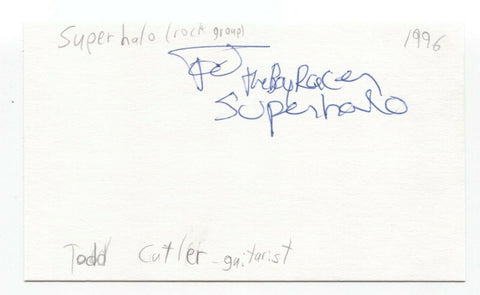 Super Halo - Todd Cutler Signed 3x5 Index Card Autographed Signature