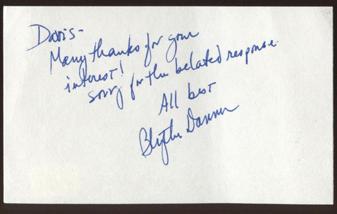 Blythe Danner Signed Index Card Signature Vintage Autographed AUTO