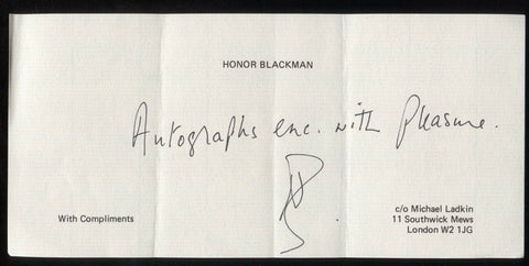 Honor Blackman Signed Sheet Autographed Letter Card