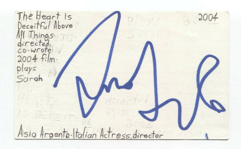 Asia Argento Signed 3x5 Index Card Autographed Actress Signature