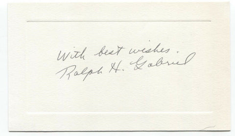 Ralph H. Gabriel Signed Card Autographed Signature Author Yale