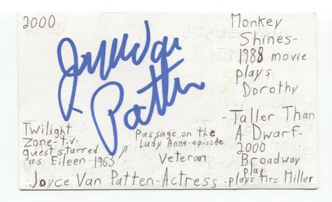 Joyce Van Patten Signed 3x5 Index Card Autographed Actress Monkey Shines
