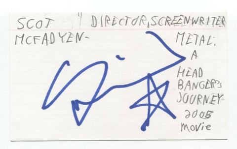 Scot McFadyen Signed 3x5 Index Card Autographed Signature Director