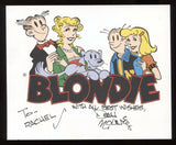 Dean Young Blondie Comic Signed Print Autographed in 1993 Signature
