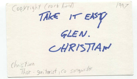 Copyright - Christian Thorvaldson Signed 3x5 Index Card Autographed Signature