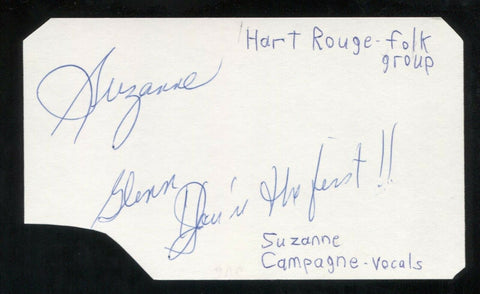 Hart-Rogue - Suzanne Campagne Signed Cut 3x5 Index Card Autographed Band