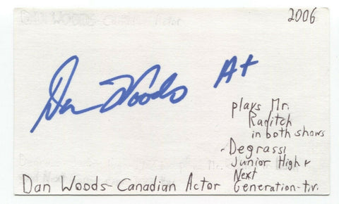 Dan Woods Signed 3x5 Index Card Autographed Signature Actor Degrassi