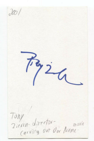 Tony Zierra Signed 3x5 Index Card Autographed Film Director