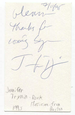Jennifer Trynin Signed 3x5 Index Card Autographed Signature Singer