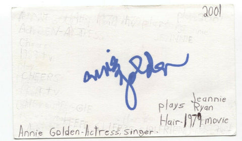 Annie Golden Signed 3x5 Index Card Autographed Signature Actress Orange