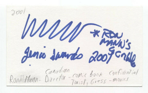 Ron Mann Signed 3x5 Index Card Autographed Film Director Comic Book Confidential