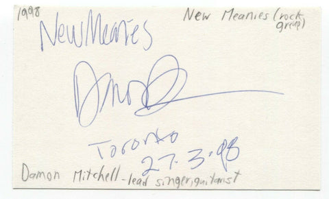 New Meanies - Damon Mitchell Signed 3x5 Index Card Autographed Signature Band