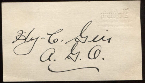 Hy C. Geis Signed Card from 1932  Autographed Music  Vintage Signature AUTO
