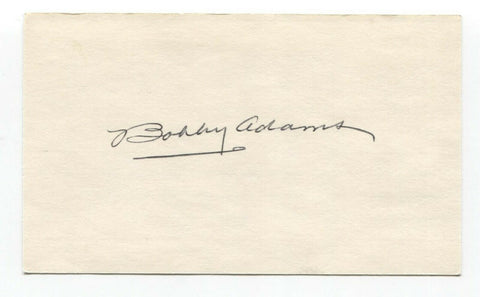 Bobby Adams Signed 3x5 Index Card Baseball Autographed Signature