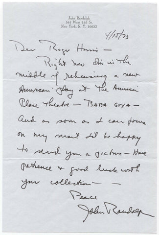 John Randolph Signed Handwritten Letter Autographed Signature Actor