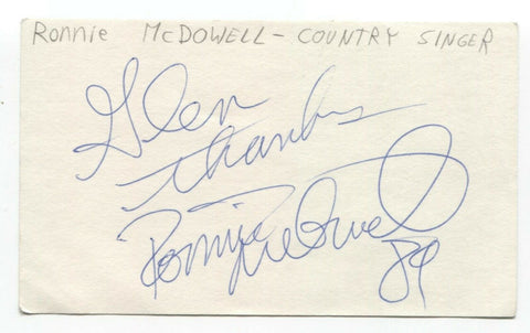 Ronnie McDowell Signed 3x5 Index Card Autographed Signature Country Singer