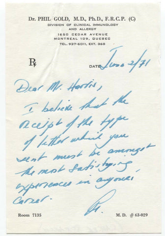 Phil Gold Signed Letter Scientist Physician Autographed Signature