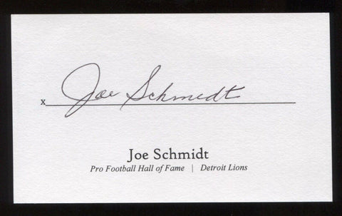 Joe Schmidt Signed 3x5 Index Card Signature Autographed Football Hall of Fame