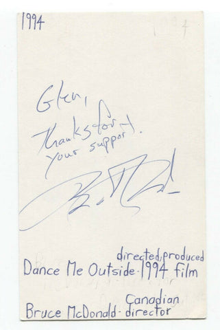 Bruce McDonald Signed 3x5 Index Card Autographed Film Director