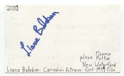 Liane Balaban Signed 3x5 Index Card Autographed Signature Actress Supernatural