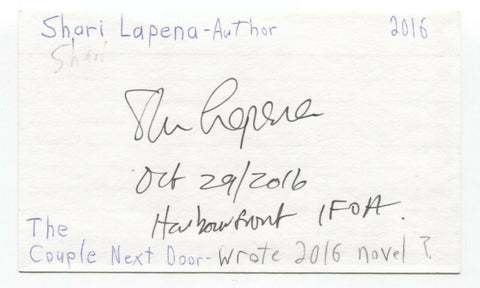 Shari Lapena Signed 3x5 Index Card Autographed Signature Author