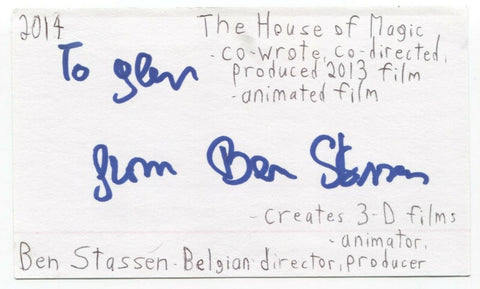 Ben Stassen Signed 3x5 Index Card Autographed Signature Director Turtles Tale