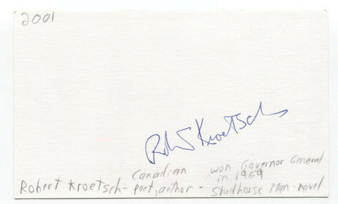 Robert Kroetsch Signed 3x5 Index Card Autographed Signature Author Writer