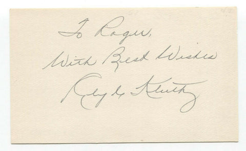Clyde Kluttz Signed 3x5 Index Card Autographed Baseball 1946 St Louis Cardinals