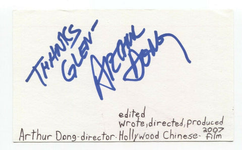 Arthur Dong Signed 3x5 Index Card Autographed Signature Director Filmmaker