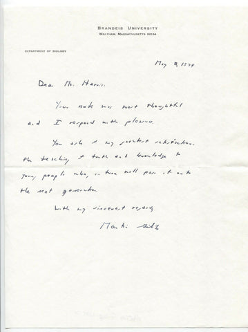 Martin Gibbs Signed Letter TLS Autographed Scientist Signature