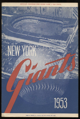 1953 New York Giants vs Pirates Program Scorecard August 25, 1953  1st game