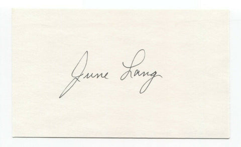 June Lang Signed 3x5 Index Card Autographed Actress Signature