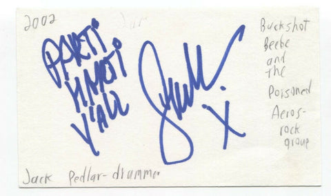 The Poisoned Aeros - Jack Pedlar Signed 3x5 Index Card Autographed Band Drummer