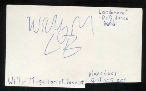 Londonbeat - Willie M Signed Cut 3x5 Index Card Autographed Signature Band