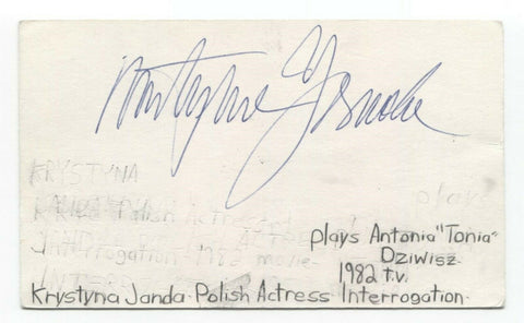 Krystyna Janda Signed 3x5 Index Card Autographed Signature Actress