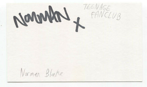Teenage Fanclub - Norman Blake Signed 3x5 Index Card Autographed Signature
