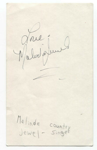 Melinda Jewel Signed 3x5 Index Card Autographed Signature Country Singer