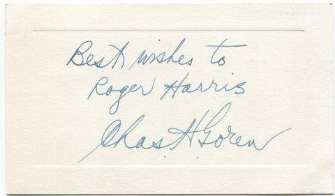 Charles Goren Signed Card Autographed Signature Mr. Bridge