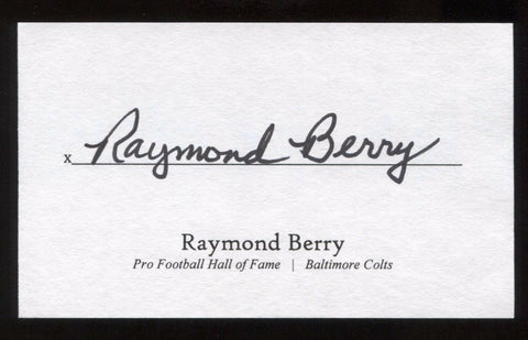 Raymond Berry Signed 3x5 Index Card Signature Autographed Football Hall of FAme
