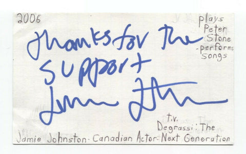 Jamie Johnston Signed 3x5 Index Card Autographed Signature Actor Degrassi