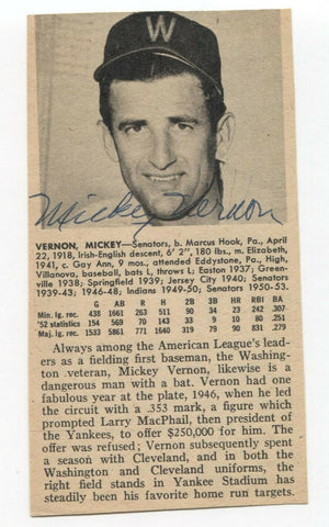 Mickey Vernon Signed Bio Cut Sheet Page Baseball Autographed Signature