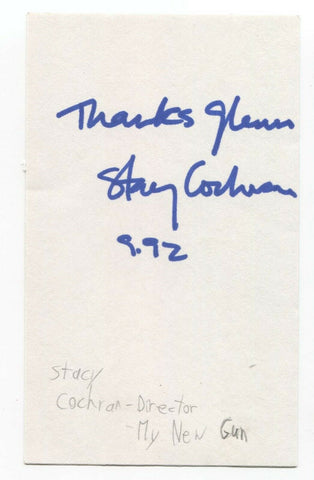 Stacy Cochran Signed 3x5 Index Card Autograph Signature Director