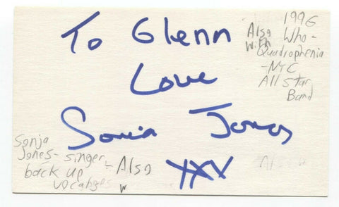 Sonia Jones Signed 3x5 Index Card Autographed Sonja Monty Python Life of Brian