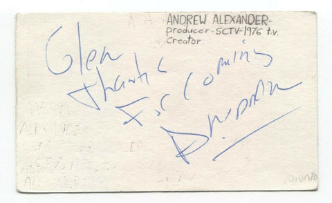 Andrew Alexander Signed 3x5 Index Card Autographed Signature Producer