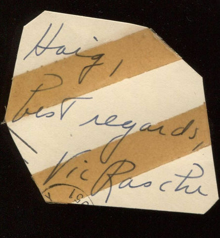Vic Raschi Signed Cut  From 1951 Autograph Clipped from a GPC