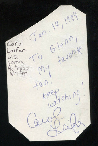 Carol Leifer Signed Cut 3x5 Index Card Autographed Signature Actress Comedian